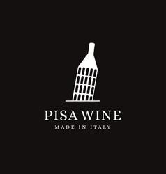 pisa landmark and wine bottle logo icon vector image