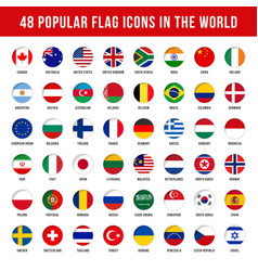 popular country flag icons collection vector image
