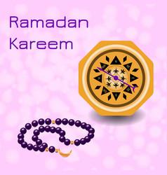 Ramadan kareem chaplet and compass vector