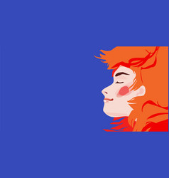 redhead girl on blue background vector image