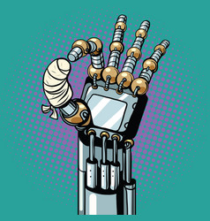 Robot ok okay gesture hand broken bandaged finger vector