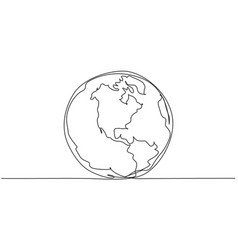 round earth globe continuous one line drawing vector image