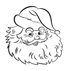santa claus face portrait santa black white vector image
