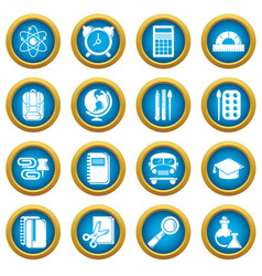 school education icons set simple style vector image