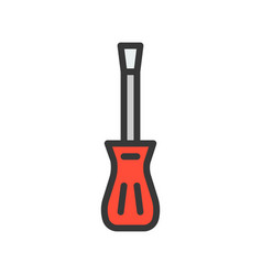 Screwdriver filled outline icon handyman tool vector