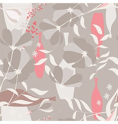 Seamless pattern floral elements spring flowers vector