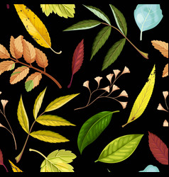 seamless pattern with green and yellow leaves vector image