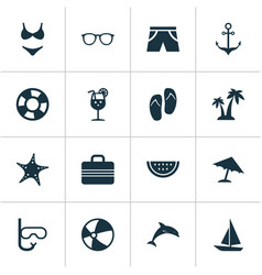 Season icons set collection of star bead vector