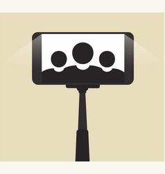 self portrait on smartphone using a monopod vector image