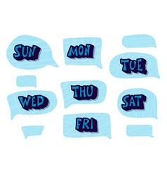 Set days week lettering vector