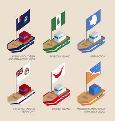Set isometric ships with flags vector