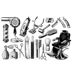 Set of vintage barbershop emblems labels badges vector
