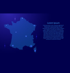 silhouette of france country from wavy blue space vector image