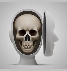 Skull inside the open head vector