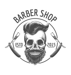 skulls barber shop logo vector image