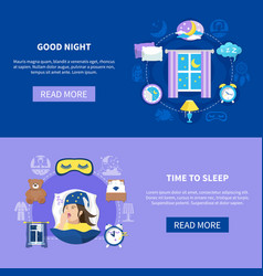 Sleeping time flat banners set vector