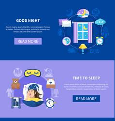 Sleeping time flat banners set vector