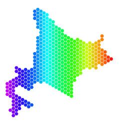 Spectrum hexagon hokkaido island map vector