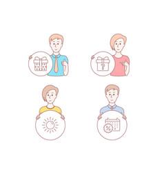 sun secret gift and gift box icons calendar vector image