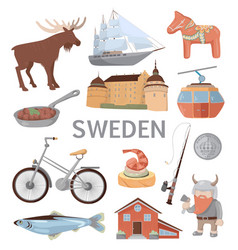 Sweden traditional symbols vector