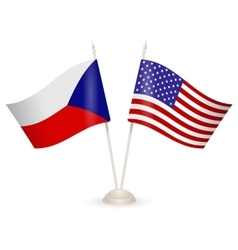 Table stand with flags of Chech and USA vector image