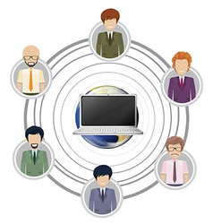 Technology connecting a group people vector