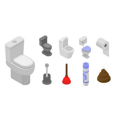 toilet bathroom icon set isometric style vector image