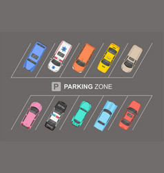 top view of different cars city parking parking z vector image
