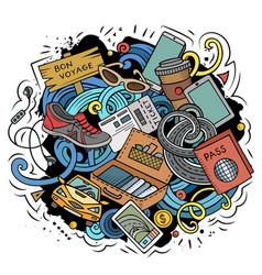 traveling doodles vector image