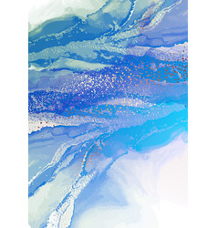 turquoise swirt ocean background watercolor vector image