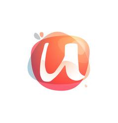 U letter logo at colorful watercolor splash vector