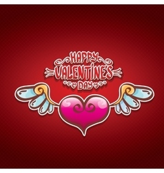 Valentines day cartoon style heart label vector