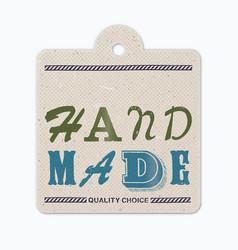 Vintage letterpress printed hanging label hand vector