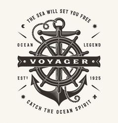 Vintage nautical voyager typography vector