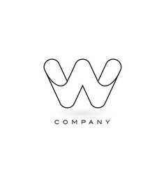 w monogram letter logo with thin black monogram vector image