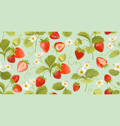 Watercolor seamless strawberry pattern with vector