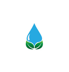 watering dropet and leaf logo symbol drop water vector image