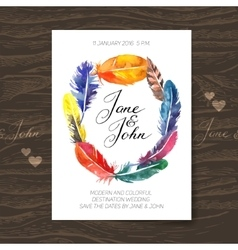 Wedding invitation card with watercolor feathers vector