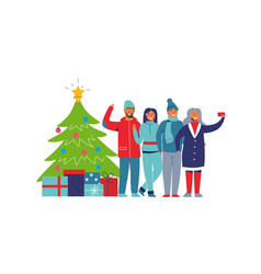 winter holidays people with christmas tree vector image