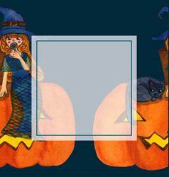 witch and cat sitting on pumpkin banner card vector image