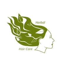 Woman head with wavy hair and leaves in it vector