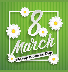 women day lettering on green background with vector image