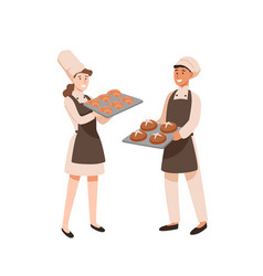 young bakers flat pastry vector image