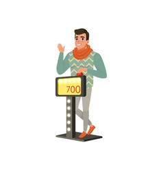 young man taking part at quiz show player vector image