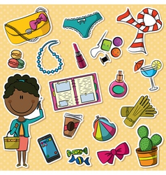 African-American trendy girl and female things vector image vector image