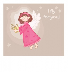 angel gift card vector image