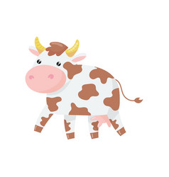 cartoon of cow with pink nose and vector image