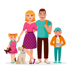 caucasian family cartoon characters flat vector image
