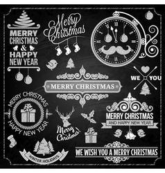 Christmas ornaments chalk set vector image