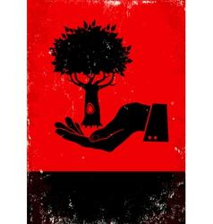 Hand holding a tree vector image